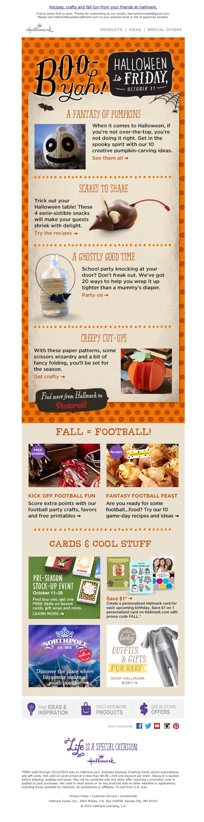 Hallmark email marketing design for Halloween