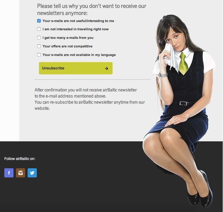 Форма отписки у AirBaltic