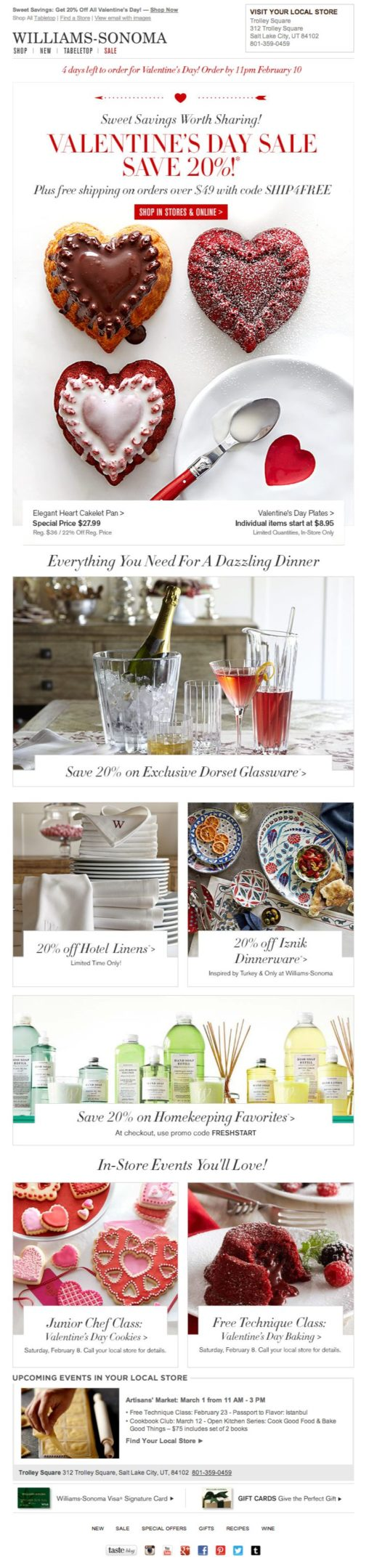 William-Sonoma Valentine's Day email 2014